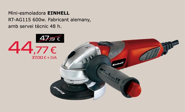 Mini-amoladora EINHELL RT-AG115 600w, por sólo 44,77€. Fabricante alemán, con servicio técnico 48h.