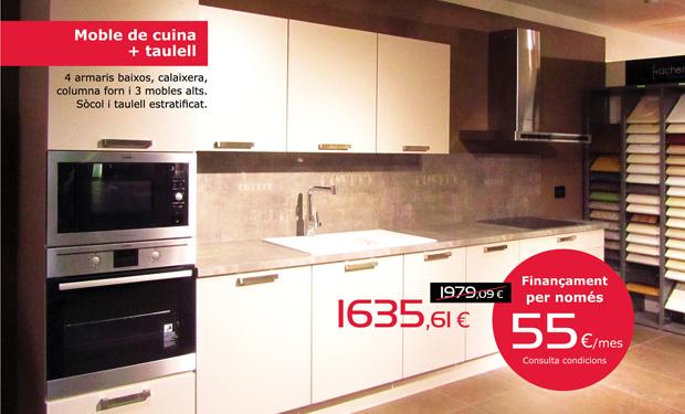 Muebles de cocina + encimera: 4 armarios bajos, cajonera, columna horno y tres muebles altos. Con zócalo y encimera estratificada. Ahora por sólo 1.635,61€. Y si lo prefieres, puedes financiarla por sólo 55 €/mes.