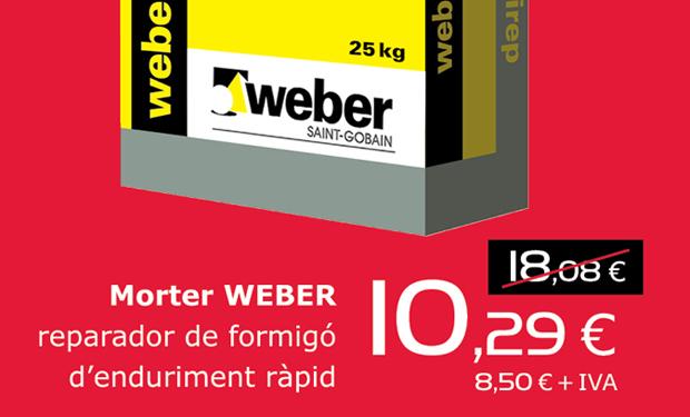 Mortero WEBER reparador de hormigón de fraguado rápido, ahora por sólo 10,25€ / 25kg.