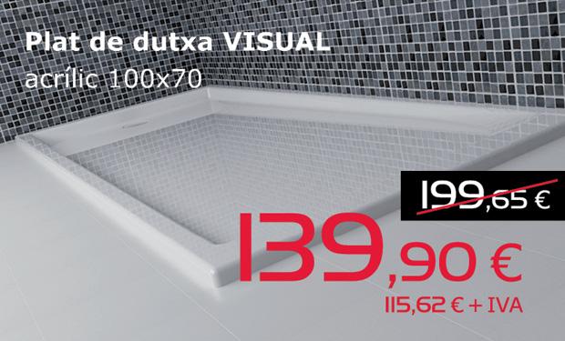 Plato de ducha VISUAL acrílico 100x70, por sólo 139,90€ (IVA incluido)