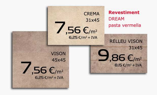 Oferta de revestimiento cerámico DREAM, pasta roja.