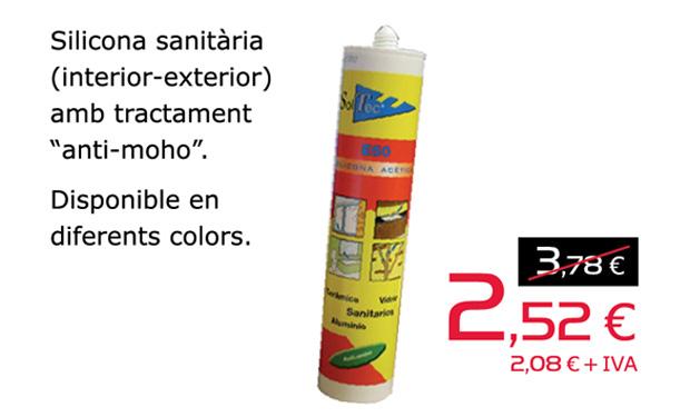 """Silicona sanitària (interior-exterior) amb tractament """"anti-moho"""", per només 2,52€. Disponible en diferents colors."""