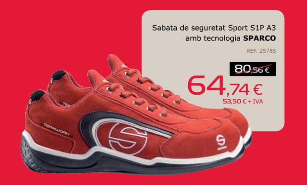 Zapato de seguridad Sport S1P A3 con tecnología SPARCO, por sólo 64,74€.