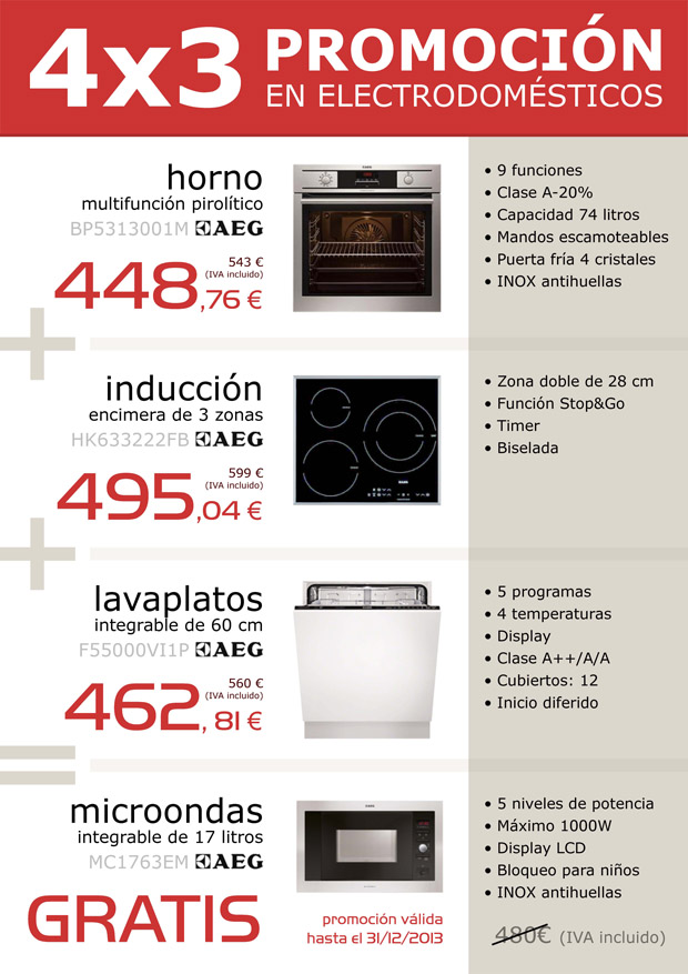 Sólo hasta final de año, por la compra de horno, encimera de inducción y lavavajillas, te llevas gratis el microondas!