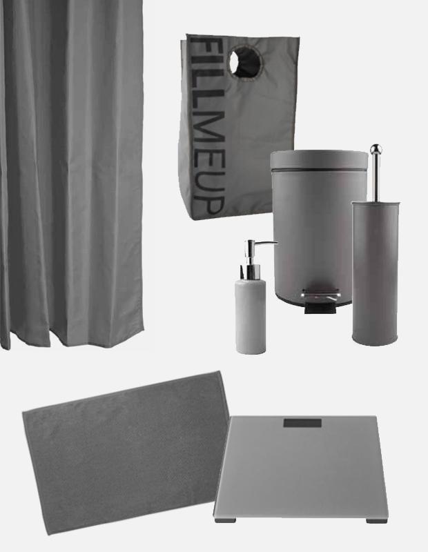Complementos y accesorios de baño en color gris