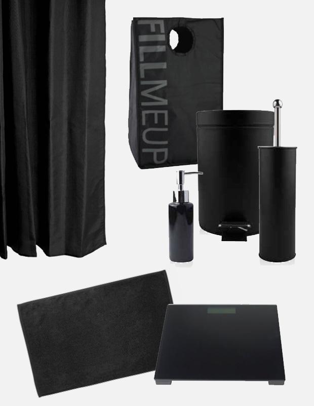 Complementos y accesorios de baño en color negro