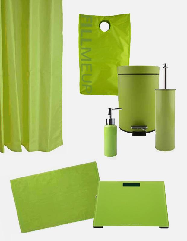 Complementos de ba o en color verde solomat cocinas for Complementos para banos