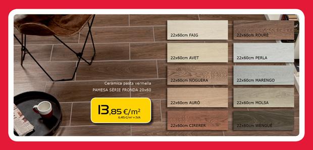 Cerámica pasta roja imitación madera
