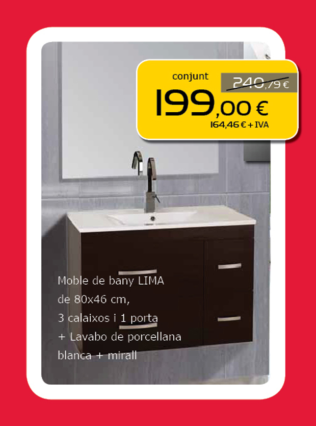 Oferta moble de bany + lavabo de porcellana