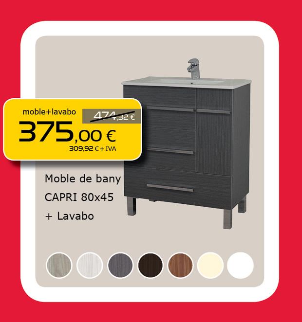 Mueble de Baño CAPRI de 80cm + Lavabo