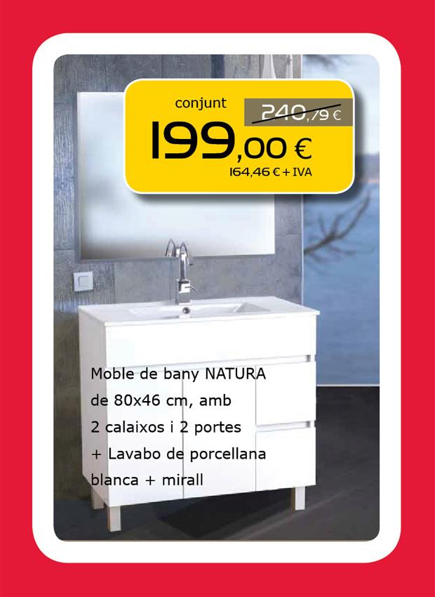 Mueble de baño NATURA + Lavabo + Espejo