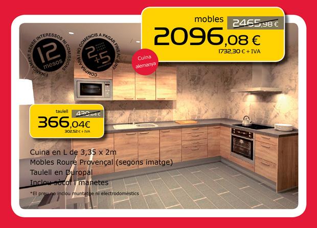 Muebles de cocina roble y encimera en Terrassa, Sabadell y Matadepera