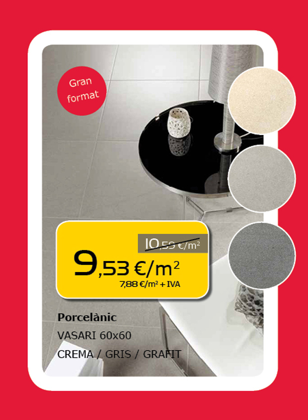Porcelánico de gran formato 60x60