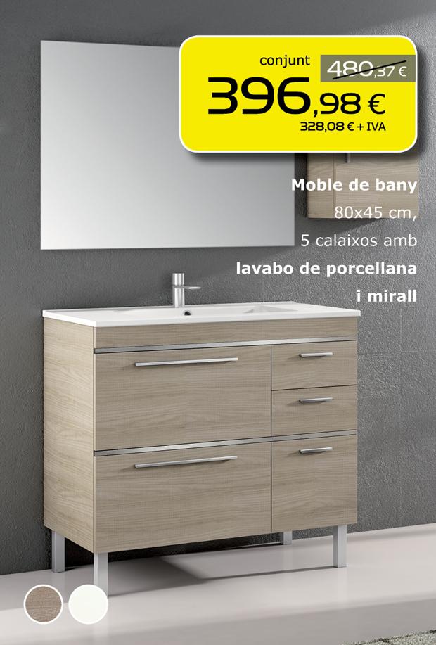 Moble de bany 80cm, 5 calaixos amb lavabo de porcellana i mirall