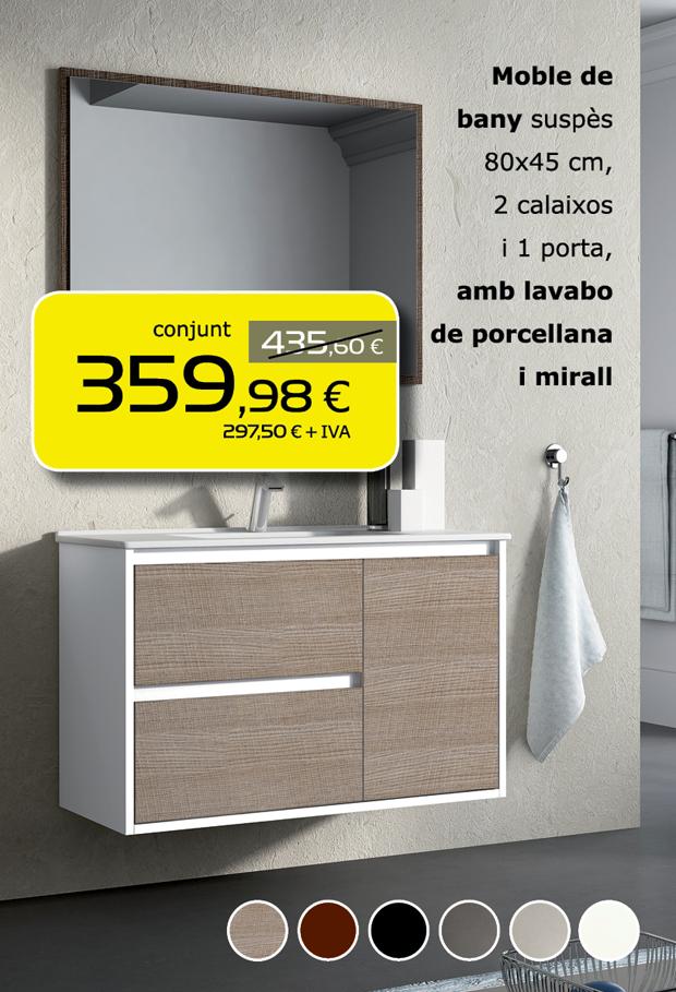 Mueble de baño suspendido 80x45 cm, 2 cajones y 1 puerta, con lavabo de porcelana y espejo