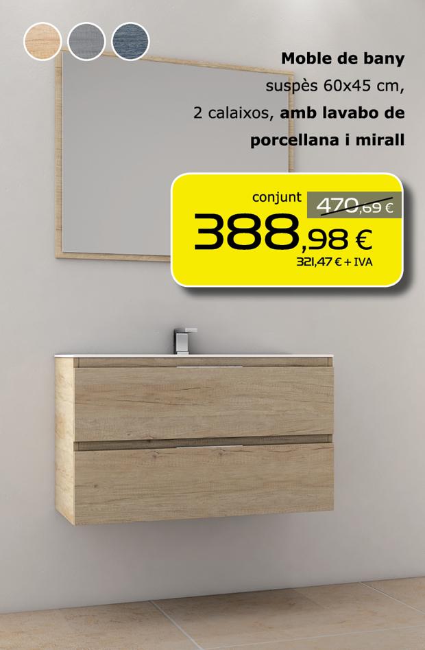 Moble de bany suspès 60x45 cm, 2 calaixos, amb lavabo de porcellana i mirall