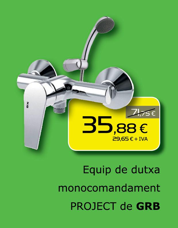 Equipo de ducha monomando PROJECT de GRB. Promoción válida sólo hasta el 31 de octubre de 2014.
