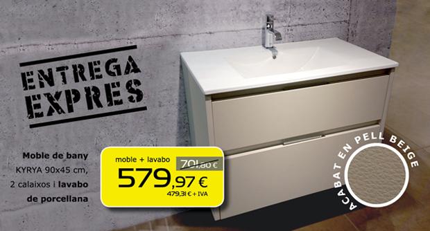 Mueble de baño KYRYA 90x45 cm acabado en piel beige, 2 cajones y lavabo de porcelana. Dos unidades en stock con entrega exprés!!