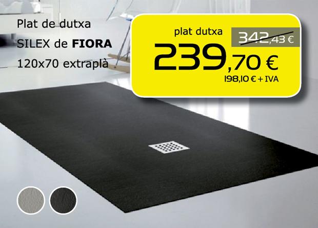 Plato de ducha SILEX de Fiora 120x70 extraplano