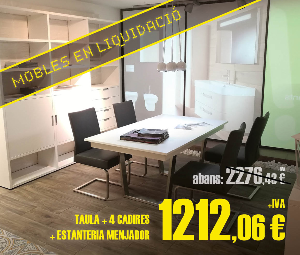 Liquidación de conjunto de muebles de comedor: mesa, sillas y estantería