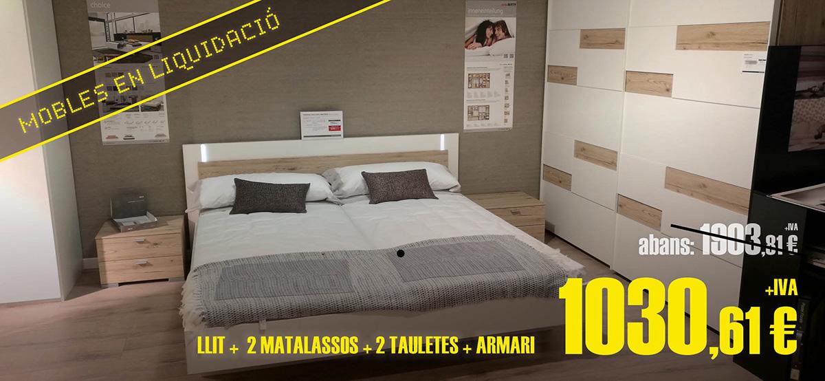 Liquidación de muebles de dormitorio: cama, mesitas y armario